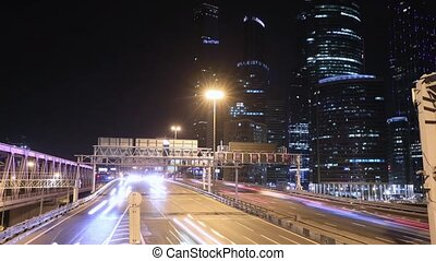 transport metropolis, traffic and blurry lights - Timelapse...