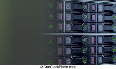 Blinking indicators on SATA and SAS hard disks. - Blinking...