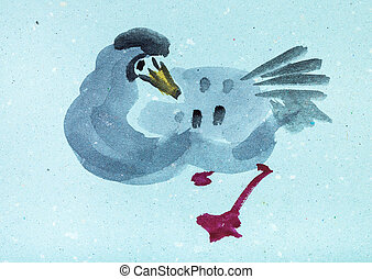 wild goose on blue colored paper - training drawing in...