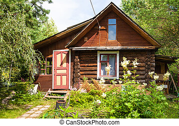 front view of wooden house in russian village in sunny...