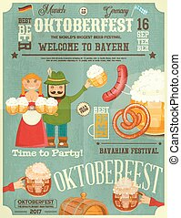 Oktoberfest Beer Festival Poster - Beer Mugs with Foam,...
