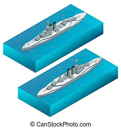 Isometric Military dreadnought warship vector illustration....