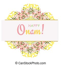 Holiday greetings illustration of Onam background showing...