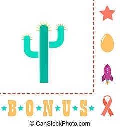 Cactus computer symbol - Cactus Simple vector button. Flat...