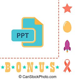 PPT computer symbol - PPT Simple vector button. Flat color...