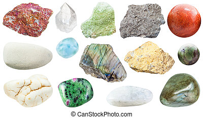 various specimens on natural mineral rocks isolated -...