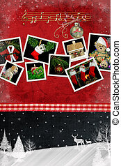 Christmas Snapshots - Holiday snapshots on red texture with...
