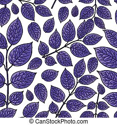 Seamless pattern of birch, honeysuckle purple leaves -...
