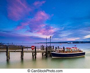 Sunset at Sandbanks in Dorset - Beatiful rich colourful...