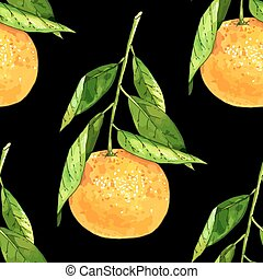 Tangerine fruit seamless pattern - Hand drawn tangerine...