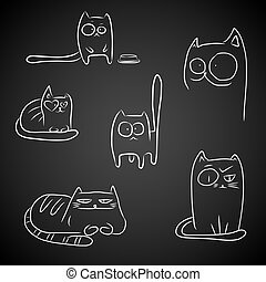 Funny cats over black - Hand drawn sketches of funny cats...
