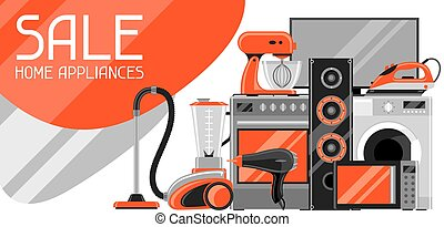 Sale banner with home appliances. Household items for shopping and advertising flyer