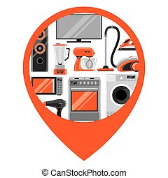 Location marker with home appliances. Household items for...