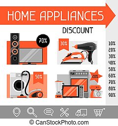 Website template with home appliances. Household items for sale and shopping advertising design