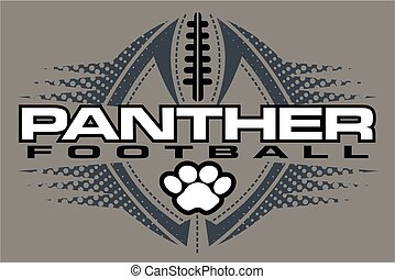 panther football team design with paw print and ball for...