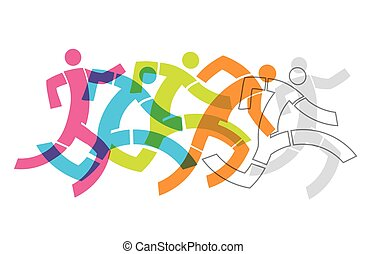Runner Race Fitness Concept. - Colorful stylized...