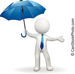 3D white people man protecting with umbrella vector image...
