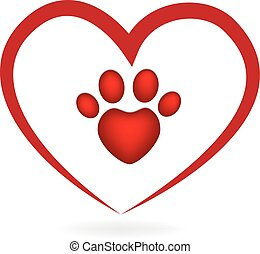Love heart paw print dog logo