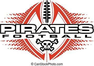 pirates football team design with skull and ball for school,...