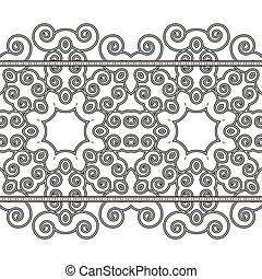 Black and white ornamental floral stripes. Lace ribbon. Element of the pattern of small spirals