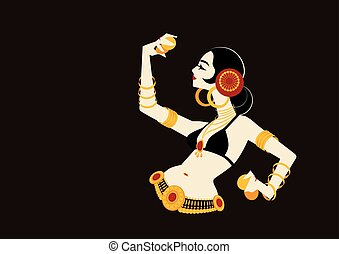 tribal belly dancer with cymbals holding expressive impressive p