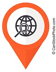 Search orange pointer vector icon in eps 10 isolated on...