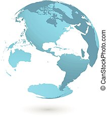 3D planet Earth globe. Transparent sphere with blue land silhouettes. Focused on Americas