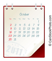 october 2011 - 2011 calendar with a blanknote paper - vector...