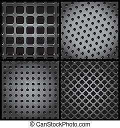 metal grid collection - vector illustration