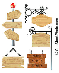 blank wooden signboard collection - vector illustration