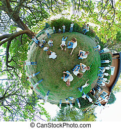 Clones on a tiny planet - A 360x180 stereographic polar...