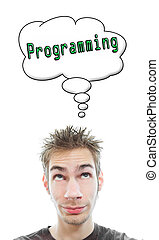 Young man thinks about Programming