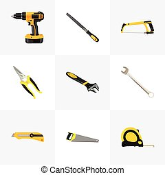Realistic Stationery Knife, Hacksaw, Electric Screwdriver And Other Vector Elements. Set Of Tools Realistic Symbols Also Includes Wrench, Spanner, Sawmill Objects.