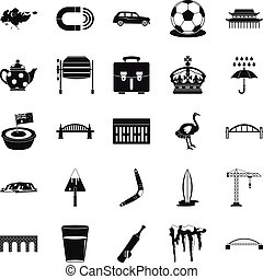 Relocation icons set, simple style - Relocation icons set....