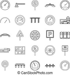 Asphalt icons set, outline style - Asphalt icons set....