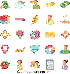 Fiscal officer icons set, cartoon style - Fiscal officer...