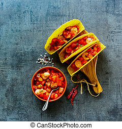 Mexican cuisine concept - Top view of shrimp tacos with...