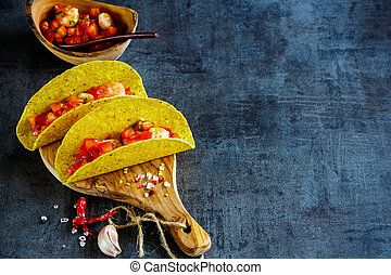 Mexican cuisine concept - Two shrimp tacos with homemade...