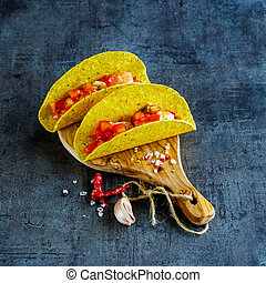 Mexican cuisine concept - Mexican food on wooden board....