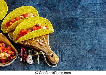 Mexican cuisine concept - Healthy shrimp tacos with homemade...
