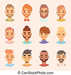 Character various bearded man face avatar fashion hipster...