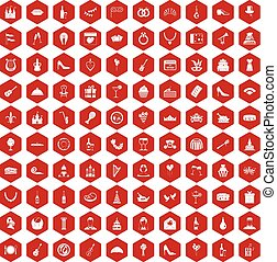 100 banquet icons hexagon red - 100 banquet icons set in red...