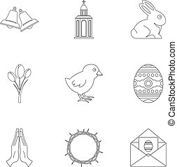 Holy Easter icon set, outline style - Holy Easter icon set....