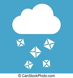 Cloud and hail icon white isolated on blue background vector...
