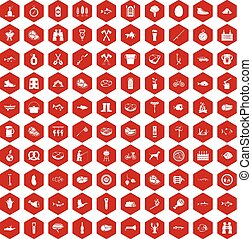 100 BBQ icons hexagon red