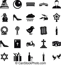 Divine service icons set, simple style - Divine service...