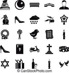 Divine service icons set, simple style - Divine service...