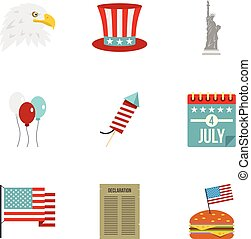 American independence holiday icon set, flat style