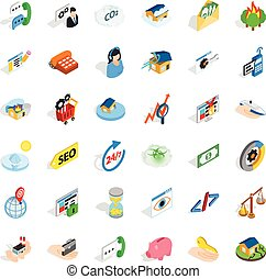 Call us icons set, isometric style - Call us icons set....