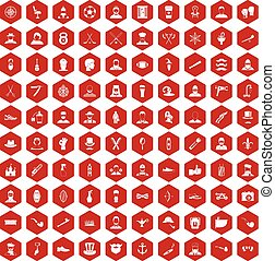 100 beard icons hexagon red - 100 beard icons set in red...